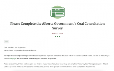Please Complete the Alberta Government's Coal Consultation Survey